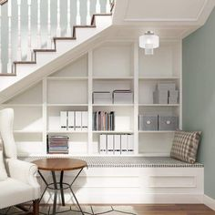 Under Stairs Nook, Under Staircase Ideas, Basement Stairwell Ideas, Under Stairs Pantry, Under Basement Stairs, Office Under Stairs, Under Stairs Playhouse, Cool Basement Ideas, Open Stairs