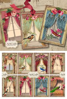 Arts And Crafts Projects, Fun Crafts, Vintage Paper Crafts, Window Cards, Artist Trading Cards, Art File, Vintage Tags, Collage Sheet, Patterns