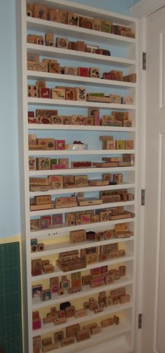 ...shelf that holds rubber stamps
