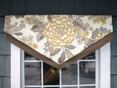 Custom, Layered, Triangle Valance Window Treatment in Kravet Floral Gray & Maize…