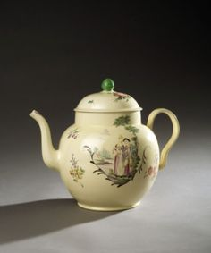 Derby possibly creamware teapot with courting couple, it is also possible Greatbatch? ear shaped handle his trademark? sold $4,680 c.1780