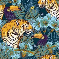 Illustration of Tropical seamless background with exotic flowers and Toucan and Tiger vector art, clipart and stock vectors. Art And Illustration, Art Inspo, Kunst Inspo, Jungle Art, Jungle Drawing, Jungle Pattern, Art Japonais, Plant Drawing, Drawing Flowers