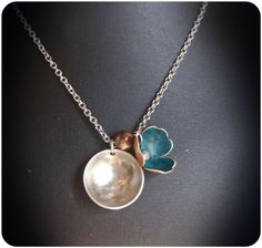 Mixed Metal Poppy Necklace by CoccoJewelry on Etsy, $17.50