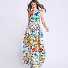 2016 American Women Show With Retro Wind Porcelain Printed Sleeveless Dress…