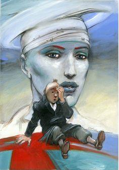 """À l'occasion de la vente Hergé chez Artcurial, Enki Bilal réalise un dessin acrylique et gouache """"La douleur ne passera plus jamais par moi"""" en hommage à Tintin. Les profits de la vente seront reversés à l'association """"Douleurs sans frontières""""."""