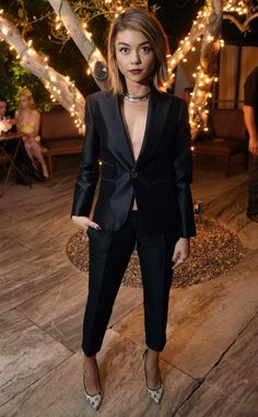 Sarah Hyland from The Best of the Red Carpet  The star bares her décolletage inthis pantsuit, and complements the look withanslick hairdo.