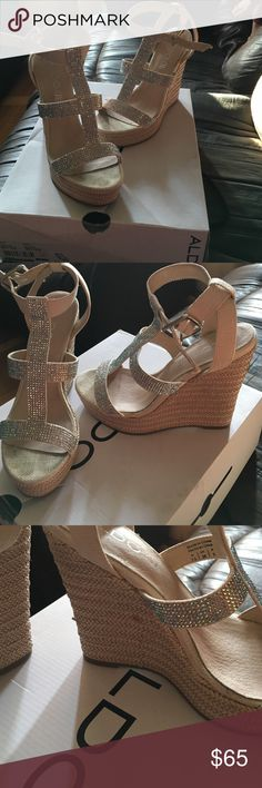 Aldo Tilissa rhinestone wedges sz 7 Worn once. Only flaw is the small spot ALDO Shoes Wedges