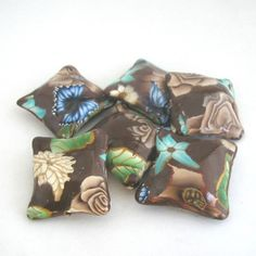 Gorgeous and sells canes    Coffee Brown Beads  Polymer Clay Pillow Bead Set by tooaquarius, $15.00