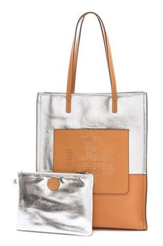 cute metallic carryall that can fit flats, a water bottle, and iPad and more