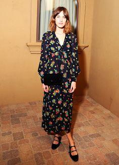 Alexa Chung in a printed midi dress and flats // Coachella 2015