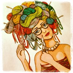 Yarn girl tattoo design. I love yarn and crochet, and I want a tattoo that symbolizes that, and when I saw a photo by Michał Andrysiak of a woman with yarn on her head, I got inspired to draw this. It might turn up as a tattoo on my back some day.