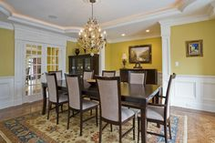Old Farm - traditional - dining room - other metro - Tatiana  LOVE THE CHAIR RAIL & DADO UNDERNEATH & THE CROWN MOLDING & CHANDELIER & FRENCH DOORS