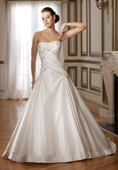 0596817efbc0c A-line Taffeta Wrap Around Bodice Softly Curved Neckline Chapel Length  Train Wedding Dresses. Crystal Dai · Dropped Waist Wedding Dresses