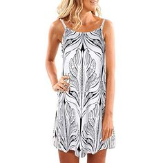 e9557b10308da kaifongfu Women Halter Neck Boho Print Sleeveless Casual Mini Beachwear  Dress Sundress(White,S) Best Boho Dress Summer USA