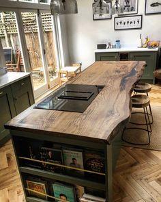 Home Decor Kitchen, Rustic Kitchen Design, Kitchen Decor, Rustic Kitchen Island, Kitchens Live Edge, Home Kitchens, Kitchen Renovation, Wood Worktop, Luxury Kitchen Design