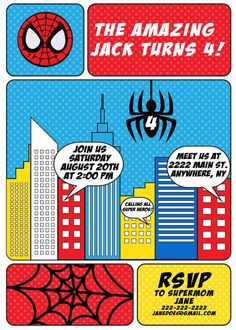 Spiderman birthday party theme; spiderman party invitation; spiderman invite