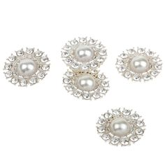 Pack of 5 Rhinestone Pearl Shank Buttons Embellishments For Sewing Crafts 27mm ** Want additional info? Click on the image.