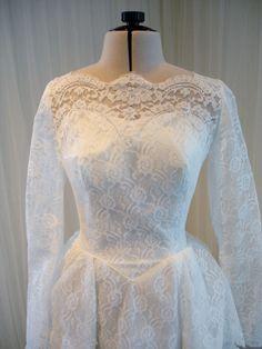 Vintage Mid Century Wedding Dress in Tiers of by TheTealDoor, $420.00