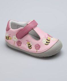 dfcce323e9e0 Take a look at this MOMO Baby Pink Bumblebees T-Strap Shoe on zulily today!