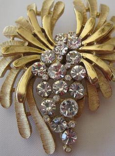 Crown Trifari Sparkling Rhinestone Gold Brooch by VintagObsessions, $42.00
