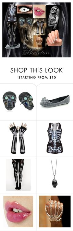 """Halloween-Skeleton"" by dressamalinosqui ❤ liked on Polyvore featuring Tarina Tarantino, Chicnova Fashion, ASOS, Alexander McQueen and Delfina Delettrez"