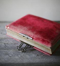 Antique Victorian red velvet photo album.