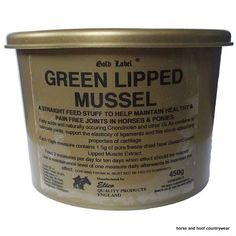 Gold Label Green Lipped Mussel Maintains healthy and pain free joints in horses Fatty acids and naturally occurring chondroitin and other GLAs combine to lubricate joints.