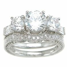 Vintage Style Cubic Zirconia CZ Three Stone Wedding and Engagement Ring Set in Size 5 6 7 8 9, (bridal sets, cubic zirconia wedding set, wedding ring sets)