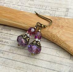 Amethyst Earrings Purple Earrings Victorian by SmockandStone