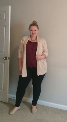 Business Casual - maroon top, creme sweater, black skinny pants, gold pearl necklace, and nude flats