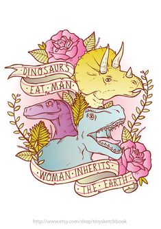 Jurassic Park Dinosaurs Eat Man Woman Inherits The Earth Feminism Illustration A4 Print Poster