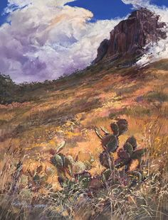 """Clouds wrap Casa Grande in """"THE SKY'S CARESS"""" an original x pastel painting by Lindy Cook Severns. Part of the Trappings of Texas exhibit's live auction at the Ranch Roundup Dinner Sat. The Joy Of Painting, Time Painting, Pastel Landscape, Landscape Paintings, Moving Clouds, Mountain Art, Le Far West, Western Art, The Ranch"""