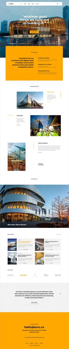 Kons is clean and modern design #PSD template for #architects, #construction and building services website with 18+ layered PSD pages to live preview & download click on Visit