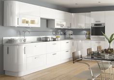 Haddington White kitchen - MDF painted high gloss