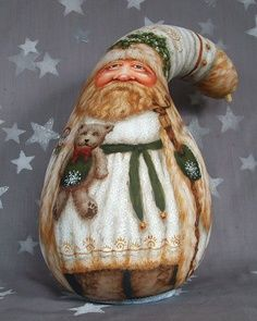 Free Gourd Painting Patterns | White Christmas, Santa Claus gourd, hand painted art, elves and ...