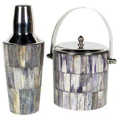 Modernist Tesselated Bone Barware Set