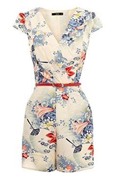 b5c512de18d0 Memorose Womens Vintage Sexy Lily Floral Deep V Neck Romper Playsuit  Jumpsuit L