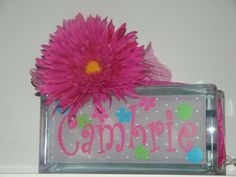 Girls personalized glass block night light by VinylSigns4him, $22.00