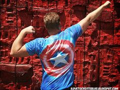Fun for the release of Marvel's The Avengers -- or for your favorite superhero! Tutorial for tie-dye Captain America shirt at ilovetocreate.