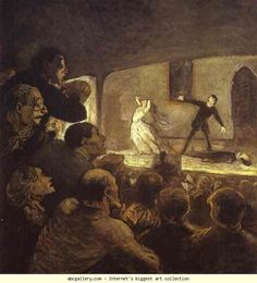 Honore Daumier. In the Theater. c.1860-64. Oil on canvas. Neue Pinakothek, Munich, Germany.