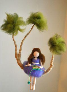 Nursery  Mobile Waldorf Inspired : Girl Knitting on by MagicWool