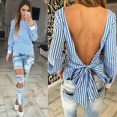 New Backless Striped Women Blouses Tops Summer Blusas y Camisas Mujer Back Bow Tied Female Shirts Fringe Chemise Femme Backless Top, Backless Shirt, Beauty And Fashion, Trend Fashion, Look Fashion, Womens Fashion, Blue Fashion, Jeans Fashion, Fashion 2017