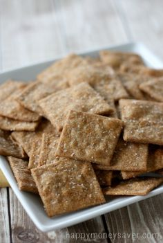 These Homemade Wheat Thin Crackers take about 10 minutes to make, taste better than store bought and are made with real ingredients that you can actually pronounce. Substitute coconut or olive oil for the butter to make it from shelf stable ingredients. Cookie Recipes, Snack Recipes, Flour Recipes, Yummy Snacks, Appetizer Recipes, Easy Recipes, Diet Recipes, Make Your Own Crackers, Ma Baker