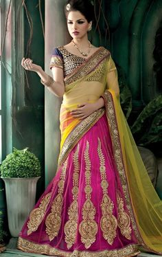 Picture of Charming Yellow and Pink Indian Net Saree