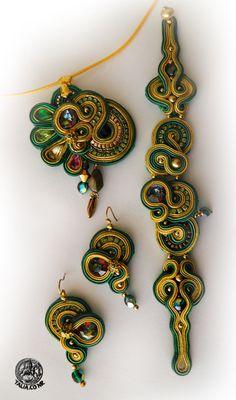 Soutache set in Green&Yellow Soutache Bracelet, Soutache Pendant, Soutache Jewelry, Beaded Jewelry, Handmade Jewelry, Beading Tools, Trendy Jewelry, Pendant Set, Necklace Designs