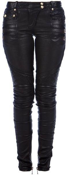 Balmain Lambskin Trouser in Black
