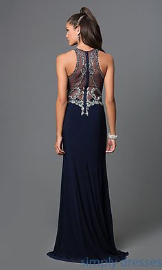 Floor Length Sheer Beaded Back Formal Gown by Elizabeth K