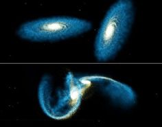 WHAT IS GALACTIC CANNIBALISM?  This process, known as Galactic Cannibalism is a process whereby a large galaxy, through tidal gravitational interactions with a companion galaxy, merges with that companion, resulting in a larger galaxy.