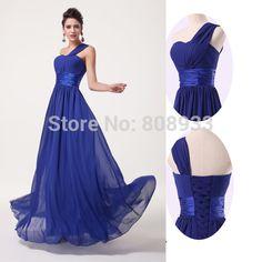 Encontrar Más Vestidos de Damas de Honor Información acerca de 2015 de un hombro Chic largo barato del azul real vestidos dama de gasa de baile vestido debajo de 50 vestido de boda del para para LY6022, alta calidad Vestidos de Damas de Honor de Y-Aphrodite en Aliexpress.com