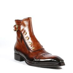 Jo Ghost Italian Mens Shoes Playo Inglese Tabacco Brown Leather Boots (JG2102) Material: Leather 	Hardware: Antique Gold Metal 	Color: Tabacco / Brown 	 Outer Sole: Leather 	 Comes with original box and dustbag. 	Made in Italy. 	3207M-TABACCO